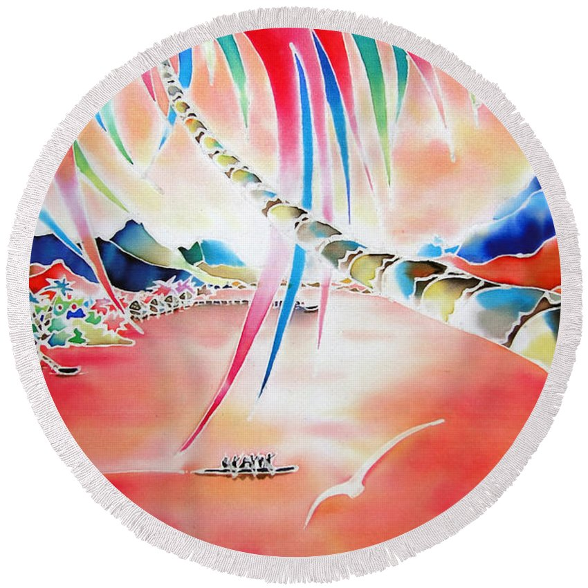 Tahiti Round Beach Towel featuring the painting In The Sunset by Hisayo Ohta