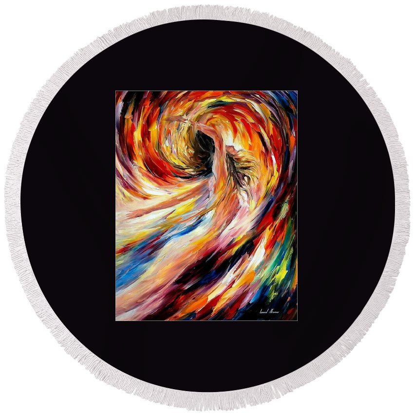 Art Gallery Round Beach Towel featuring the painting In The Vortex Of Passion - Palette Knife Oil Painting On Canvas By Leonid Afremov by Leonid Afremov