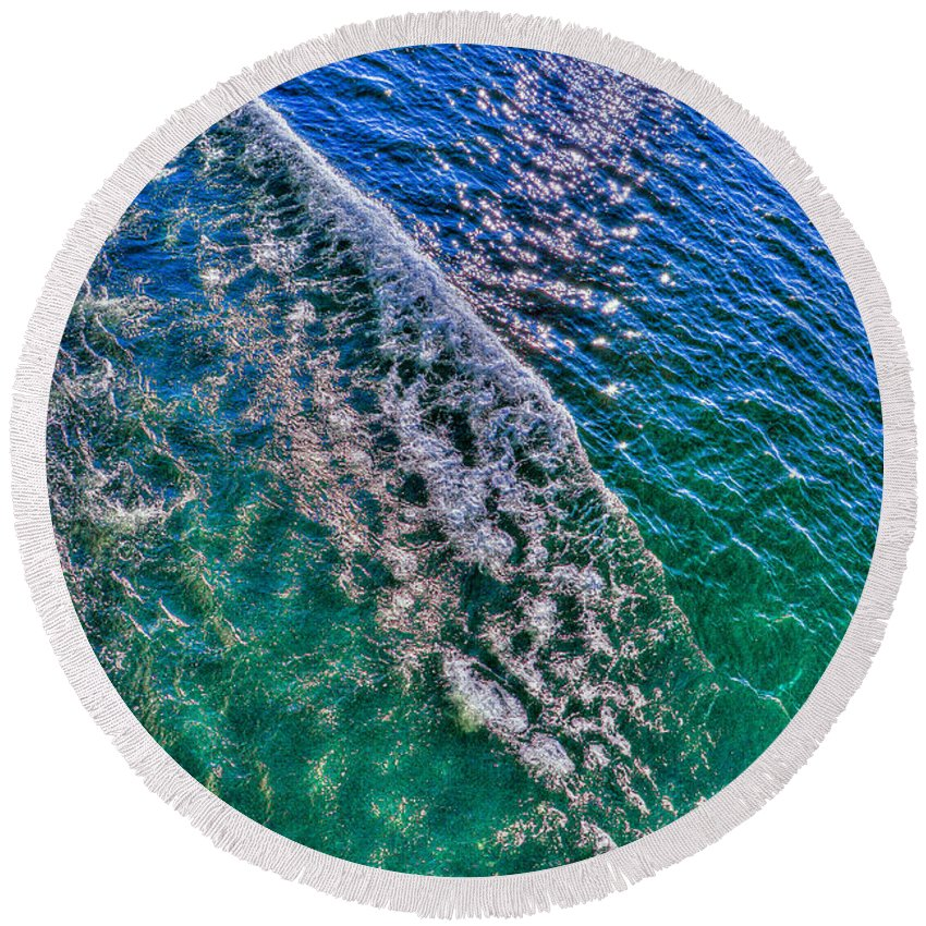 Photography Round Beach Towel featuring the photograph In The Wake by Paul Wear