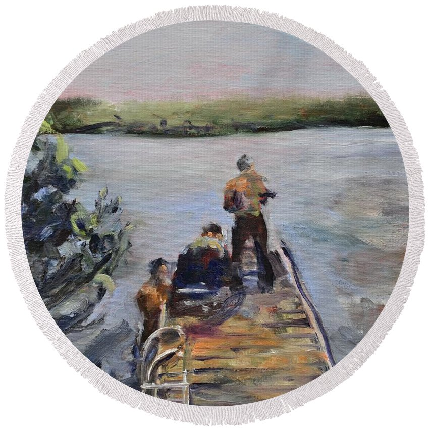 Pier Round Beach Towel featuring the painting In Thy Gracious Care by Donna Tuten