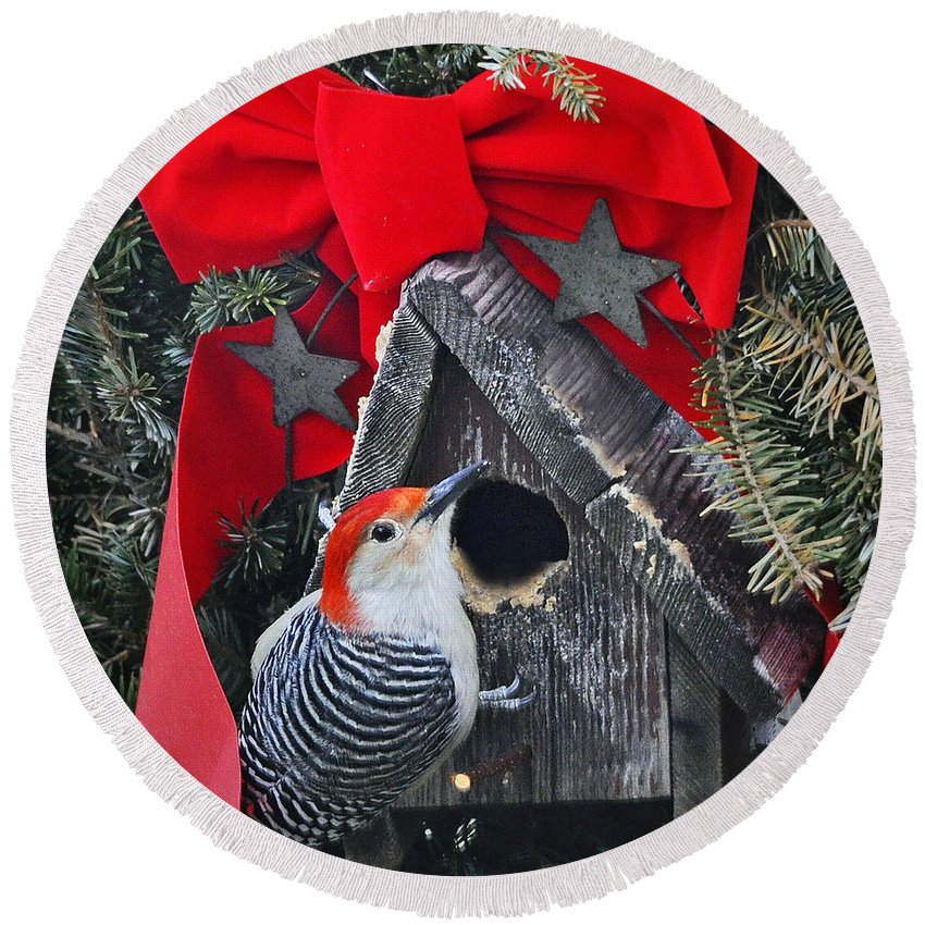 Nature Round Beach Towel featuring the photograph In Time For Christmas by Nava Thompson
