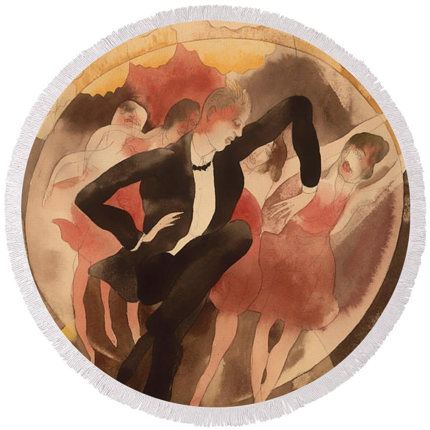 Painting Round Beach Towel featuring the painting In Vaudeville by Mountain Dreams