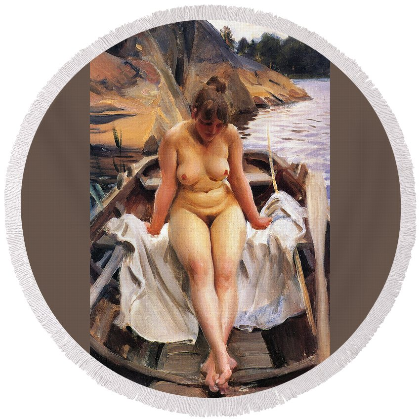 In Werner's Rowing Boat Round Beach Towel featuring the digital art In Werners Rowing Boat by Anders Zorn