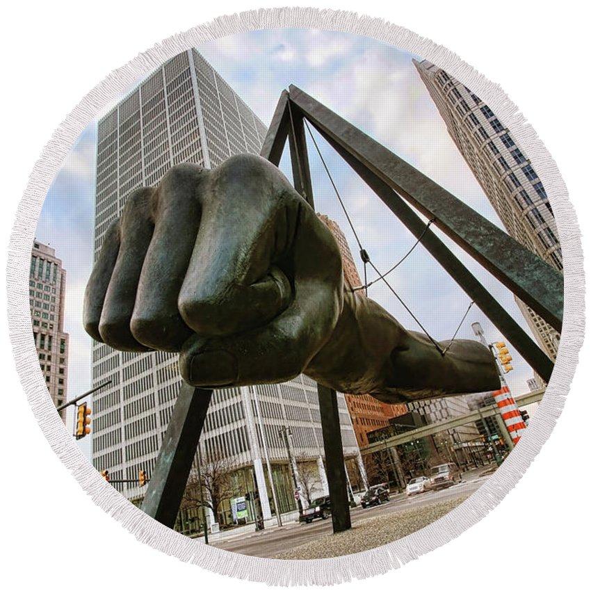 Joe Round Beach Towel featuring the photograph In Your Face - Joe Louis Fist Statue - Detroit Michigan by Gordon Dean II
