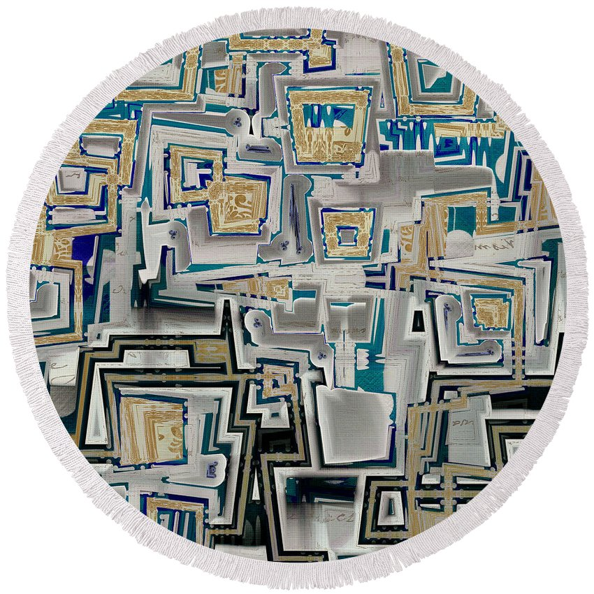Abstract Round Beach Towel featuring the digital art Inboxed - S03a by Variance Collections