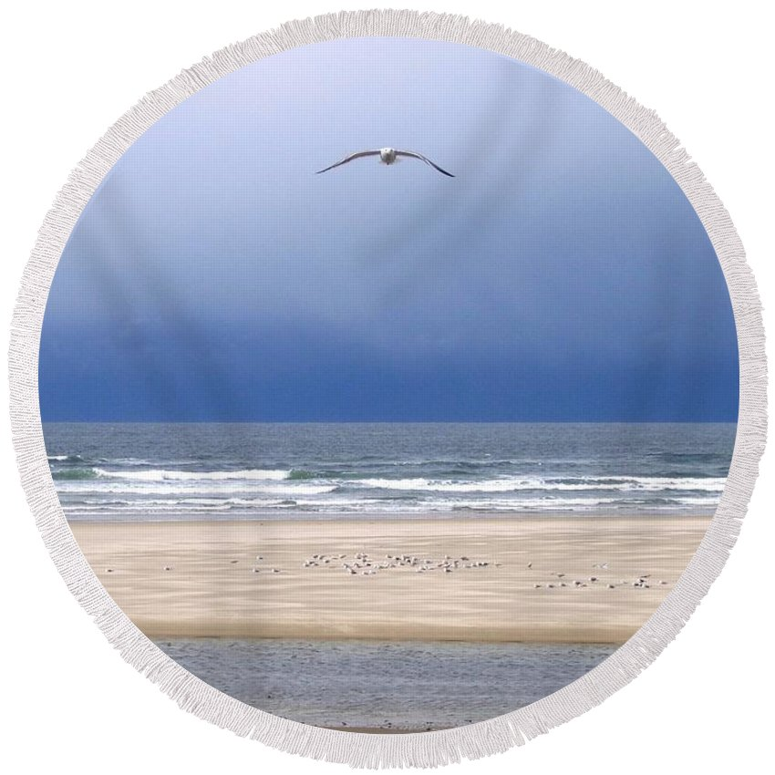 Incoming Seagull Round Beach Towel featuring the photograph Incoming Seagull by Will Borden