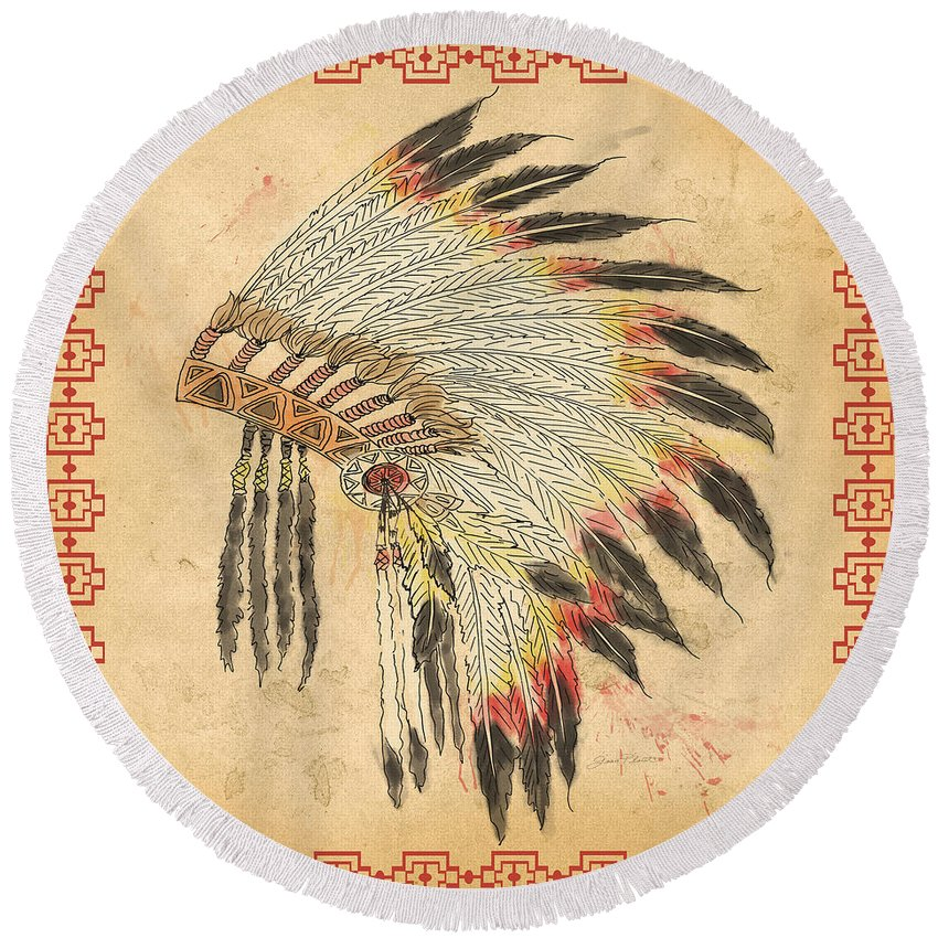 Pen Round Beach Towel featuring the mixed media Indian Head Dress-a by Jean Plout