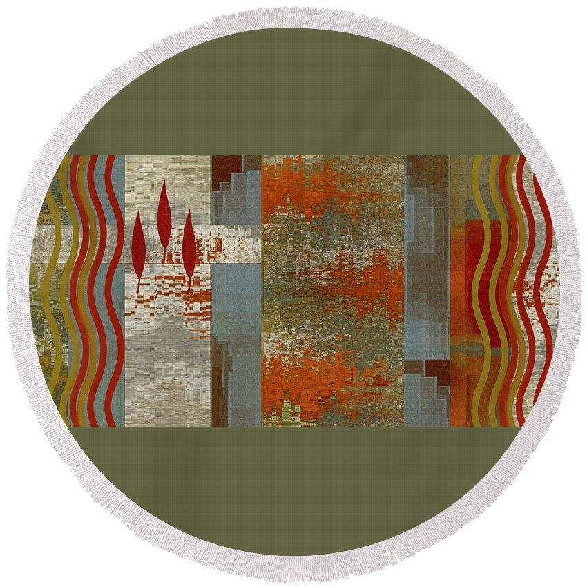 Botanical Abstract Round Beach Towel featuring the digital art Indian Summer by Ben and Raisa Gertsberg