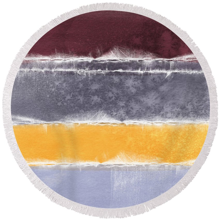 Abstract Round Beach Towel featuring the painting Indian Summer by Linda Woods