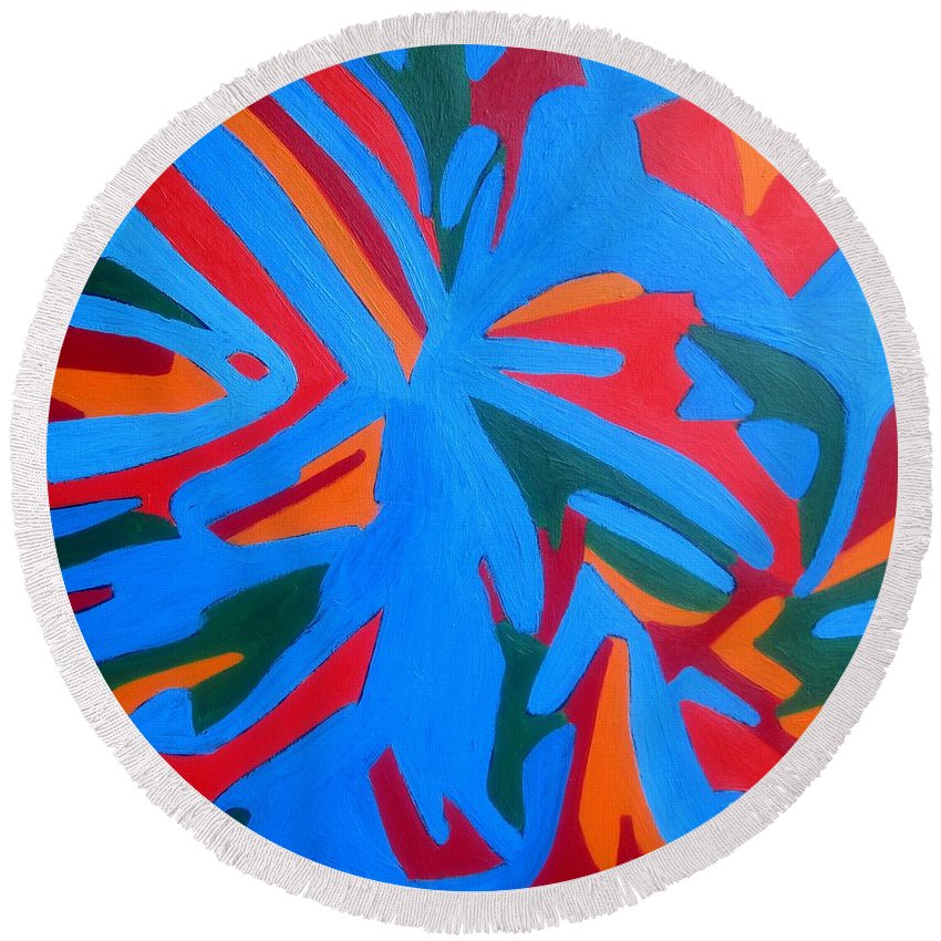 Eunice Broderick Round Beach Towel featuring the painting Indian Wind by Eunice Broderick
