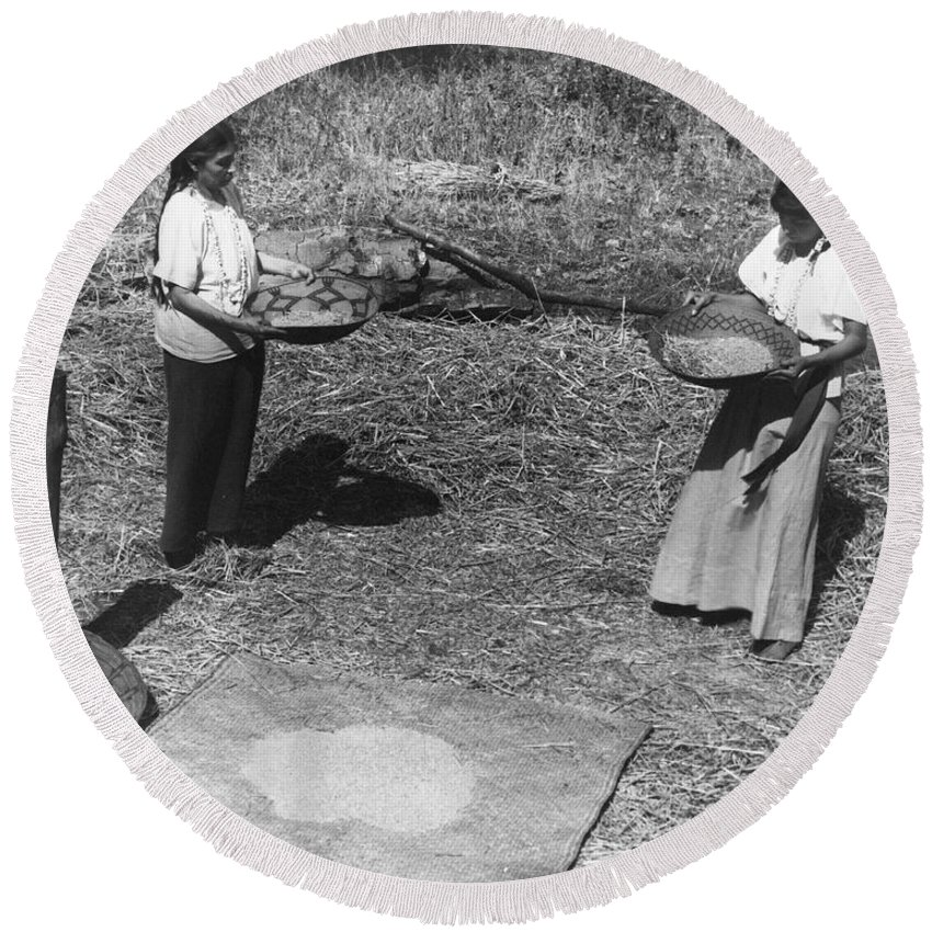1930 Round Beach Towel featuring the photograph Indian Women Winnowing Wheat by Underwood Archives Onia