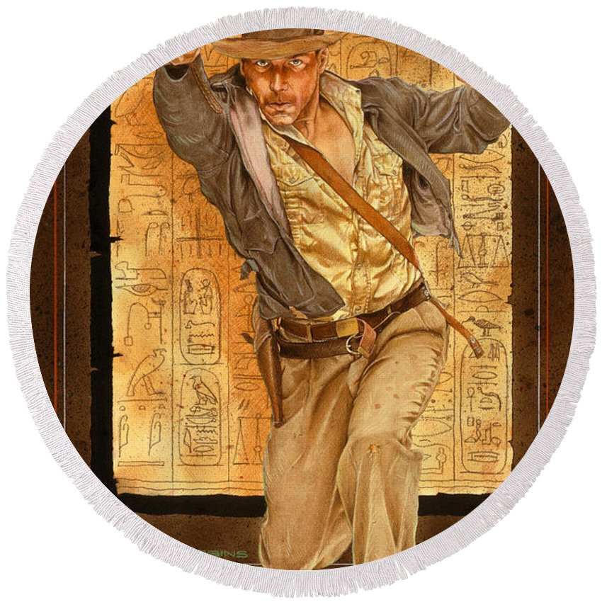 Indiana Jones Round Beach Towel featuring the painting Indiana Jones by Timothy Scoggins