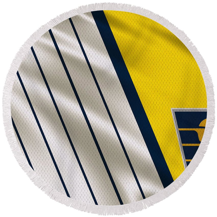Pacers Round Beach Towel featuring the photograph Indiana Pacers Uniform by Joe Hamilton