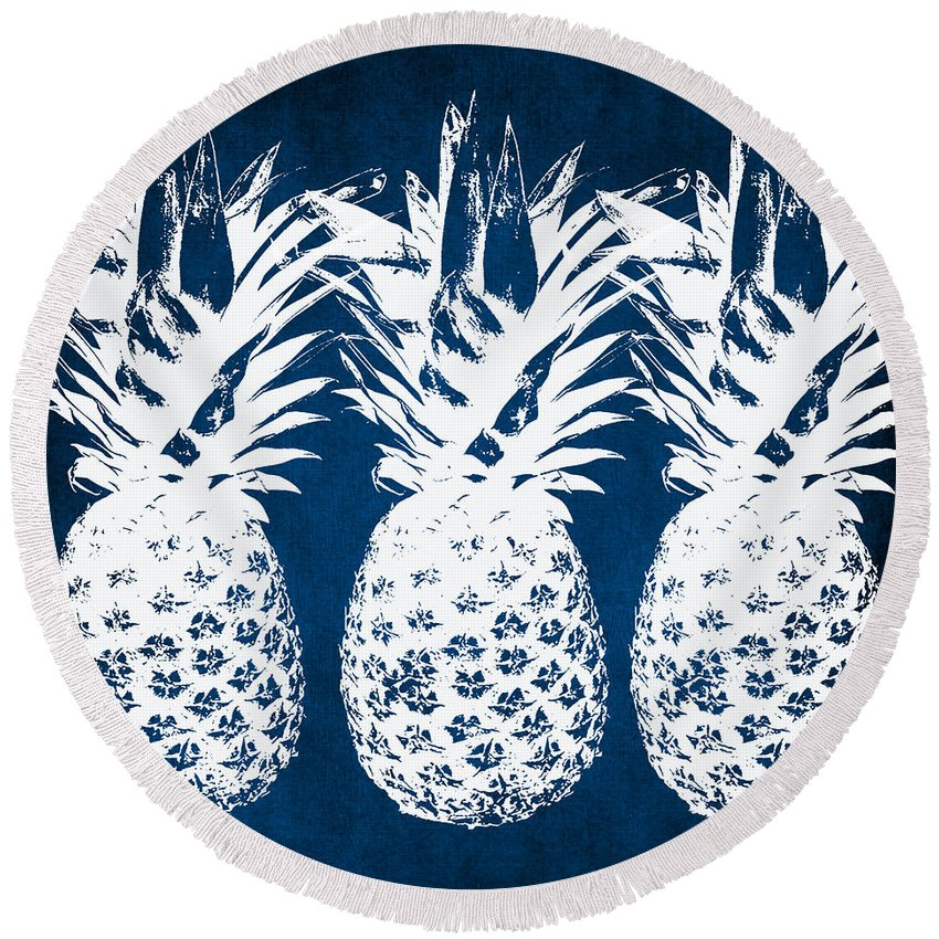 Indigo Round Beach Towel featuring the painting Indigo And White Pineapples by Linda Woods