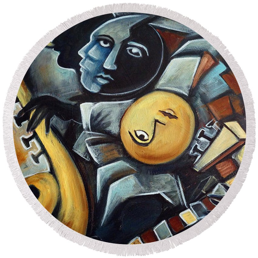 Cubism Round Beach Towel featuring the painting Indigo Blues by Valerie Vescovi