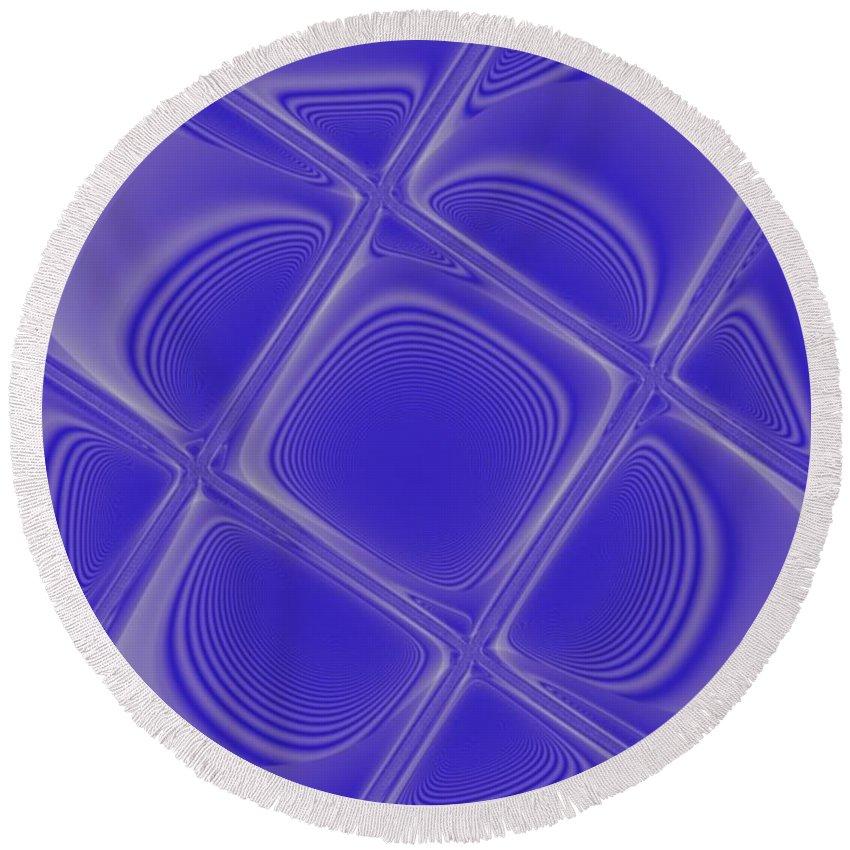 Geometric Round Beach Towel featuring the digital art Indigo Petals Morphed by Pharris Art
