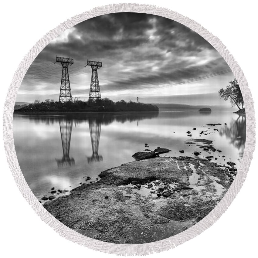Conowingo Dam Round Beach Towel featuring the photograph Industrial Light And Magic by Edward Kreis