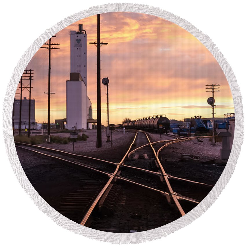 Rail Yard Round Beach Towel featuring the photograph Industrial Rail Yard by Robert VanDerWal