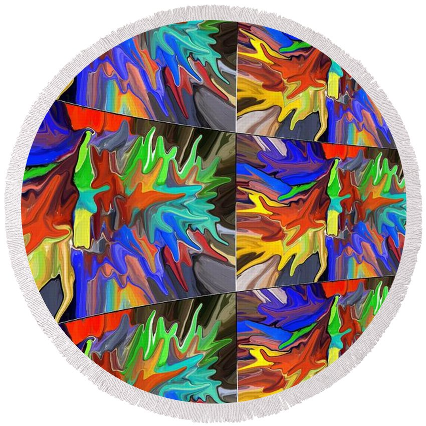 Colorful Abstract Round Beach Towel featuring the digital art Infinity by Chris Butler