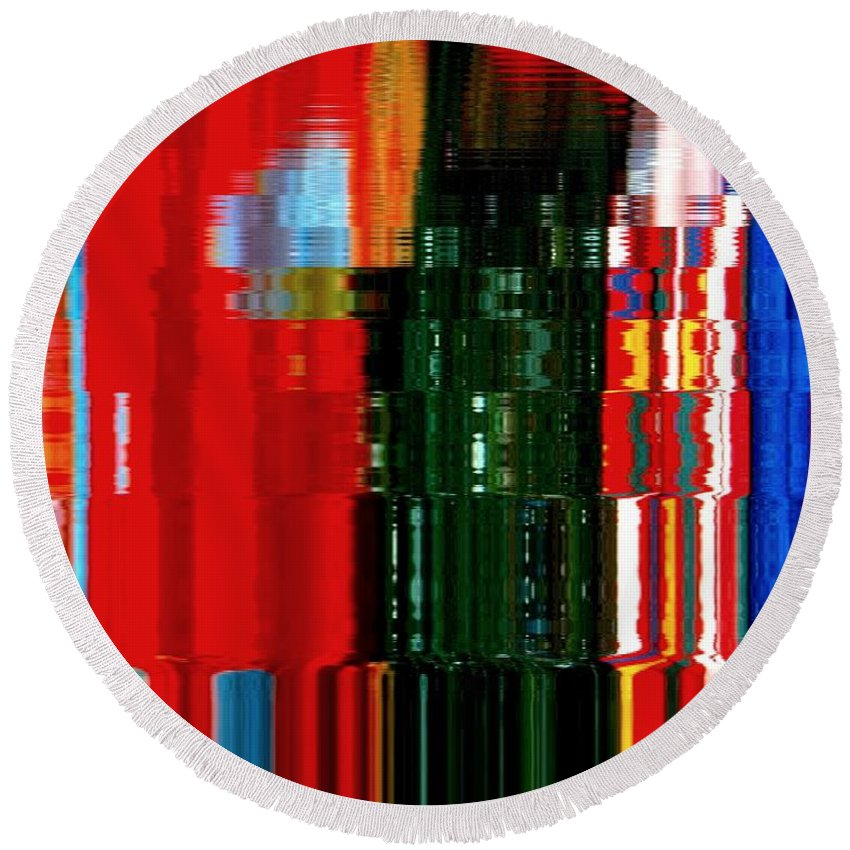 Abstract Round Beach Towel featuring the photograph Infinity Jewel Mosaic 5 by Cj Carroll