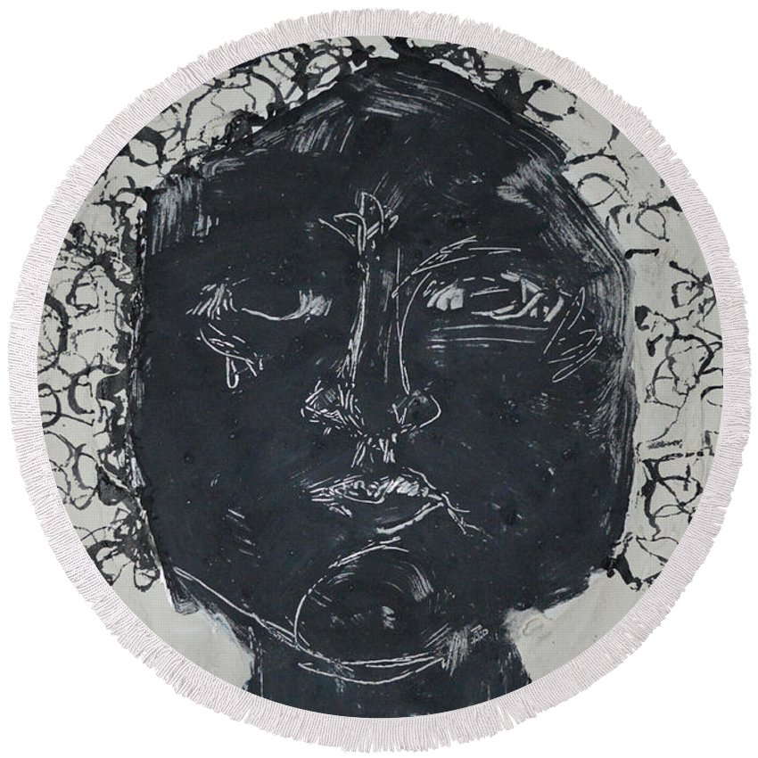 Abstract Modern Outsider Raw Folk Face Person Eyes Portrait Head Hair Woman Lady Female Ink Black Round Beach Towel featuring the painting Ink And Four 1 by Nancy Mauerman