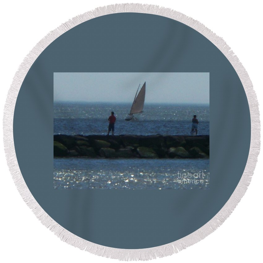 Inlet Round Beach Towel featuring the photograph Inlet At West Cape May Nj by Eric Schiabor