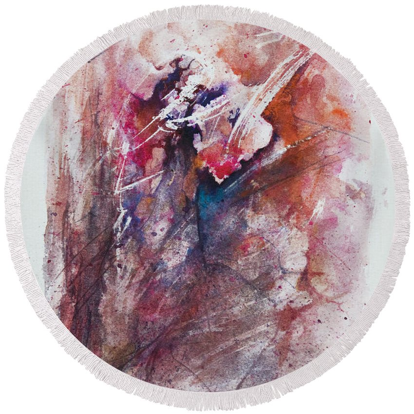 Abstract Round Beach Towel featuring the painting Inner Conflict by Rachel Christine Nowicki