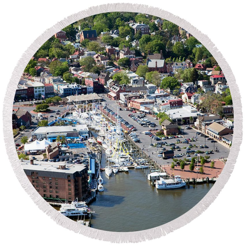 Aerial Round Beach Towel featuring the photograph Inner Harbor by Bill Cobb