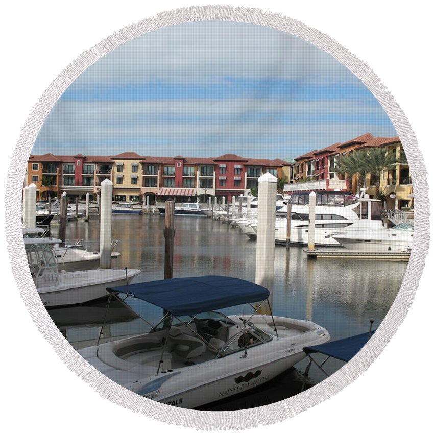 Buildings Round Beach Towel featuring the photograph Inner Harbor - Naples by Christiane Schulze Art And Photography