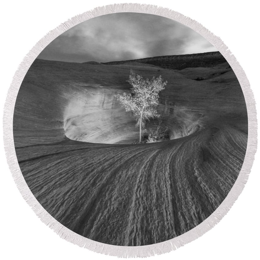 Escalante Round Beach Towel featuring the photograph Inner Light Bw by Dustin LeFevre