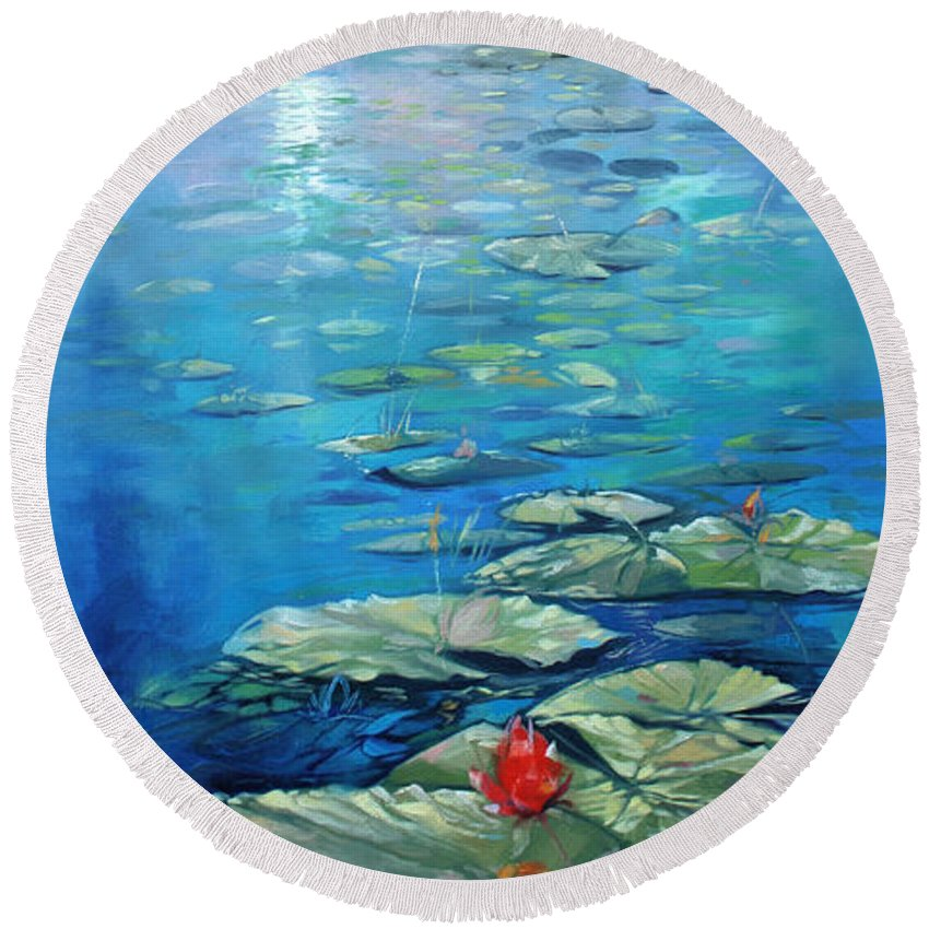 Innis Wood Park Round Beach Towel featuring the painting Inniswood Park Waterlilies by Said Oladejo-lawal