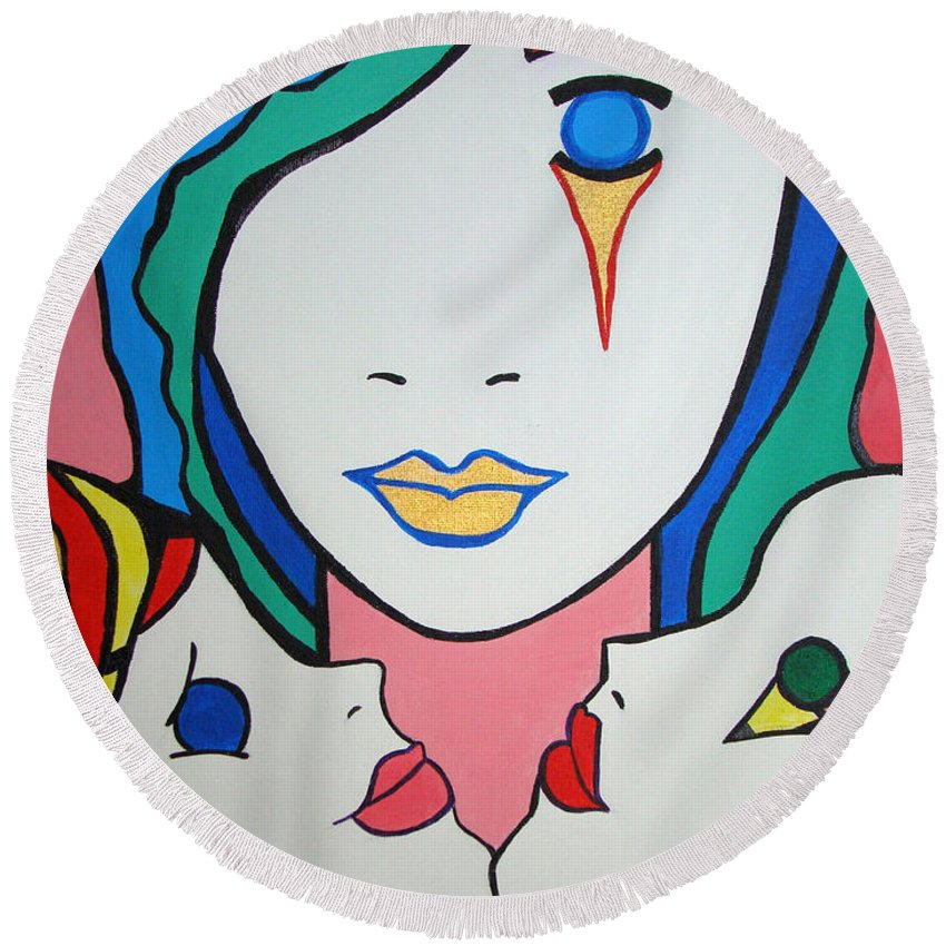 Pop-art Round Beach Towel featuring the painting Innocence by Silvana Abel