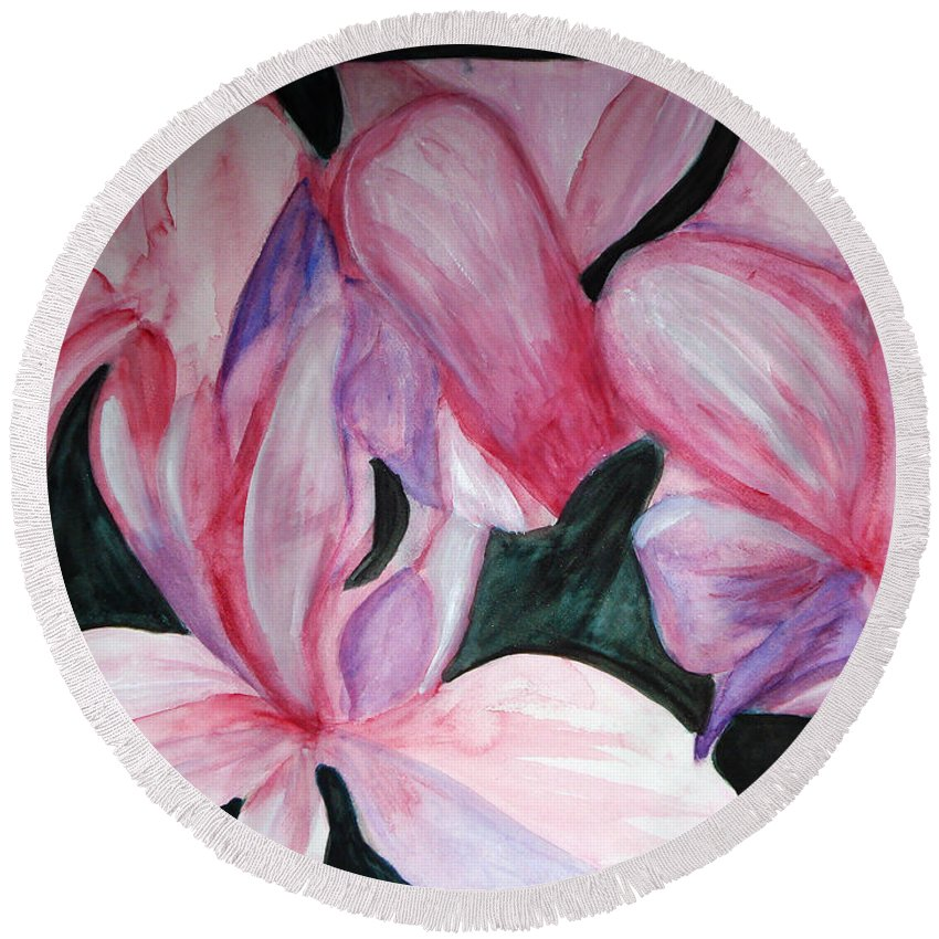 Flower Water Color Abstract Round Beach Towel featuring the painting Innocence by Yael VanGruber