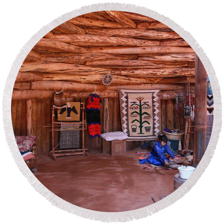 Navajo Home Round Beach Towel featuring the photograph Inside A Navajo Home by Diane Bohna