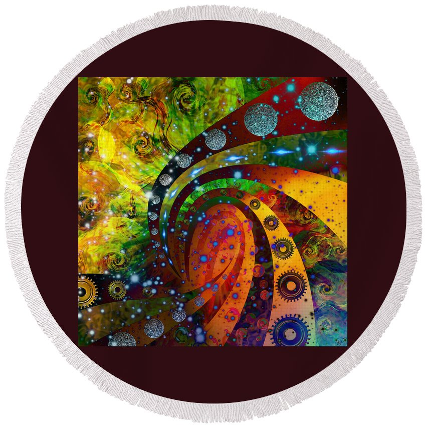 Digital Art Round Beach Towel featuring the digital art Inside Consciousness by Ally White