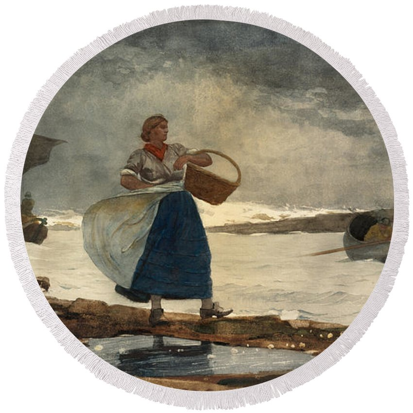 Winslow Homer Round Beach Towel featuring the drawing Inside The Bar by Winslow Homer