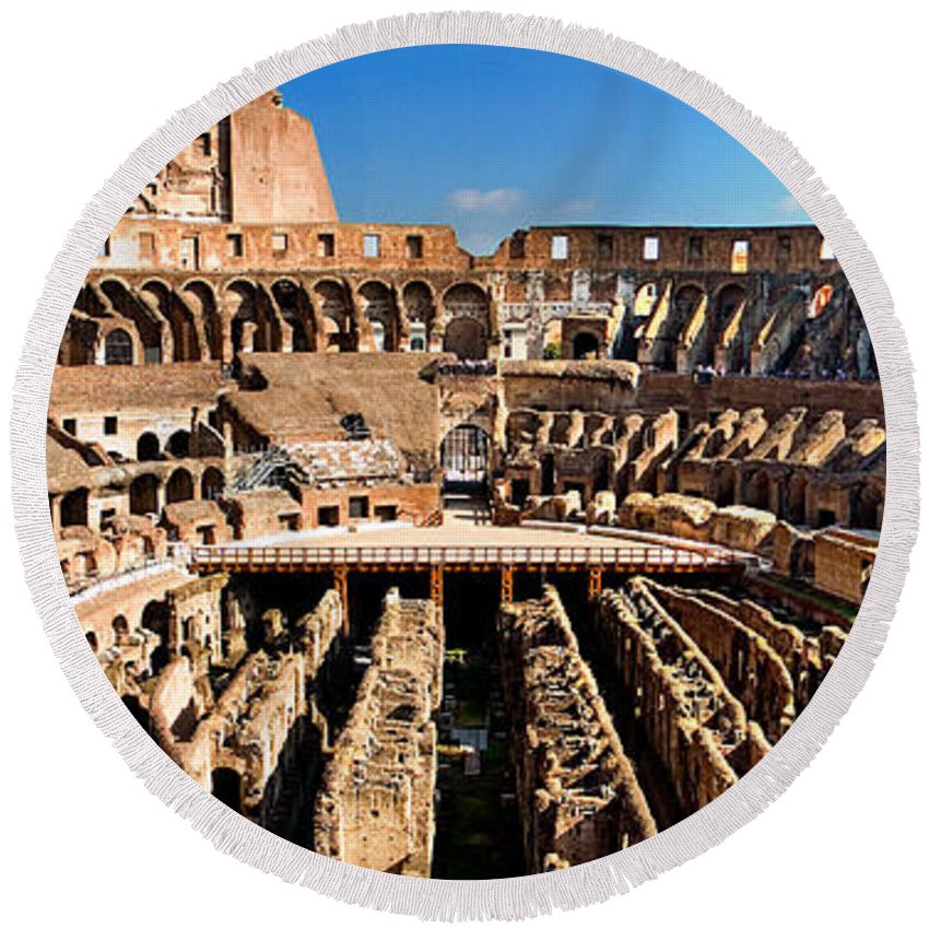 Colosseum Round Beach Towel featuring the photograph Inside The Colosseum by Weston Westmoreland