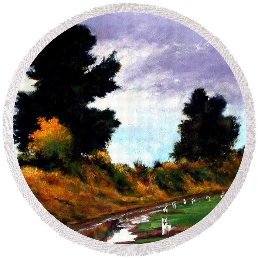 Landscape Round Beach Towel featuring the painting Inside The Dike by Jim Gola