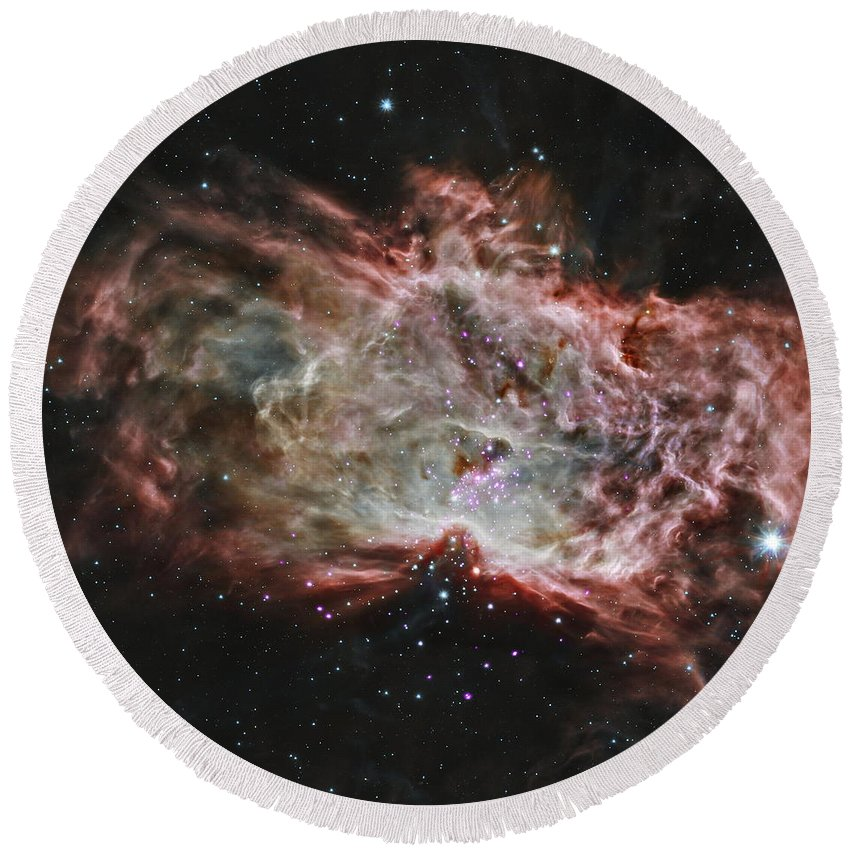 Space Round Beach Towel featuring the photograph Inside The Flame Nebula by Nasa