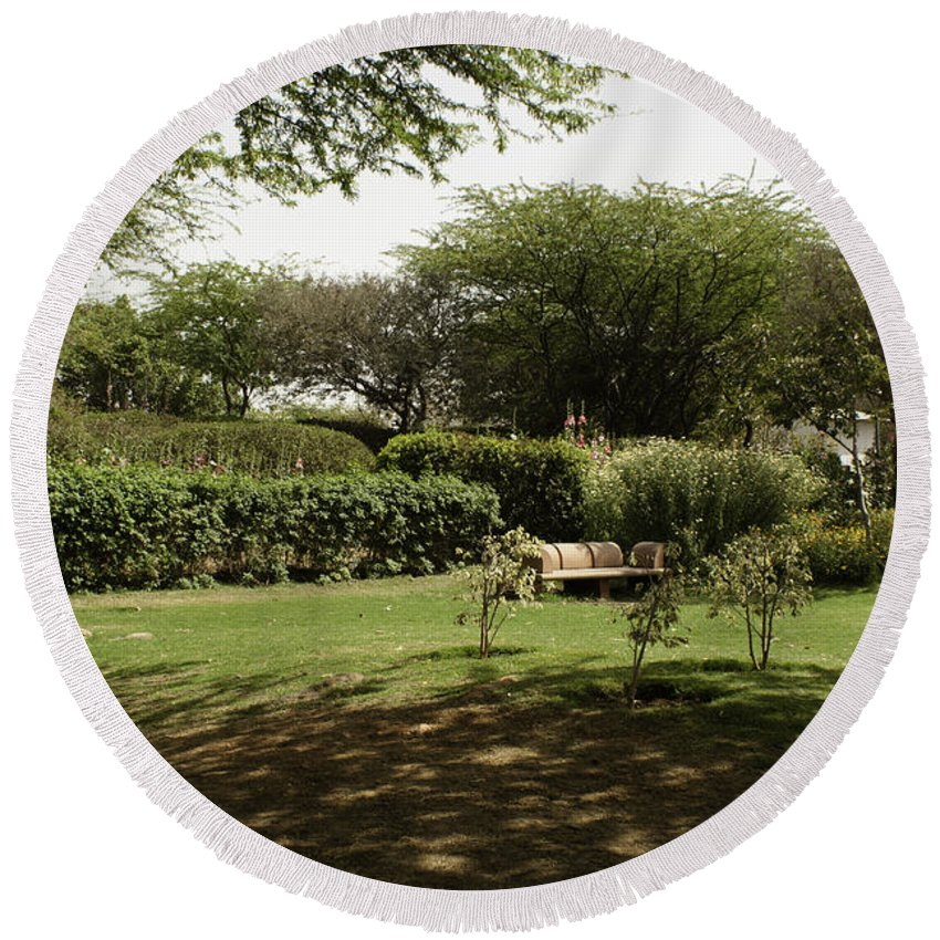 Bench Round Beach Towel featuring the photograph Inside The Garden Of 5 Senses In Delhi by Ashish Agarwal