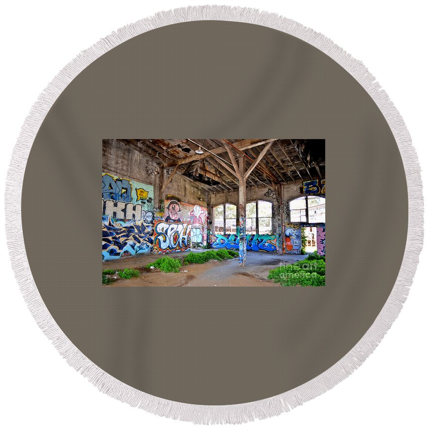 Destroyed Round Beach Towel featuring the photograph Inside The Old Train Roundhouse At Bayshore Near San Francisco And The Cow Palace II by Jim Fitzpatrick