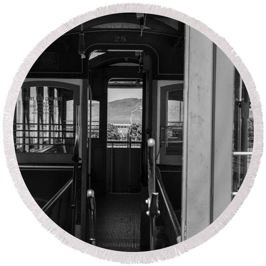 Iris Holzer Richardson Round Beach Towel featuring the photograph Inside Trolley 28 Black And White by Iris Richardson