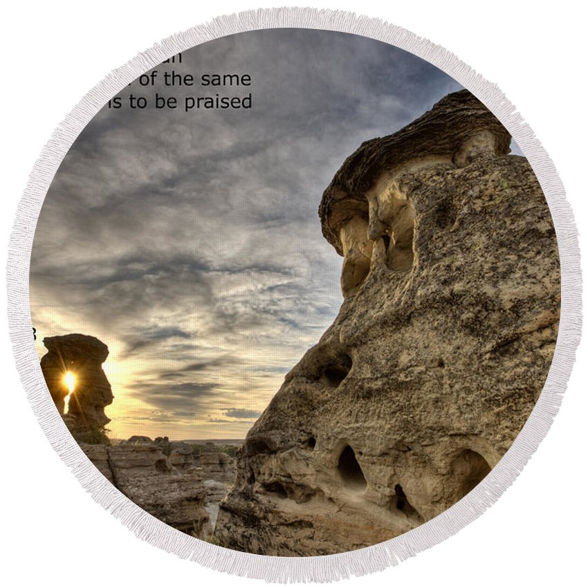 Stone Round Beach Towel featuring the photograph Inspirational Hoodoo Badlands Alberta Canada by Mark Duffy