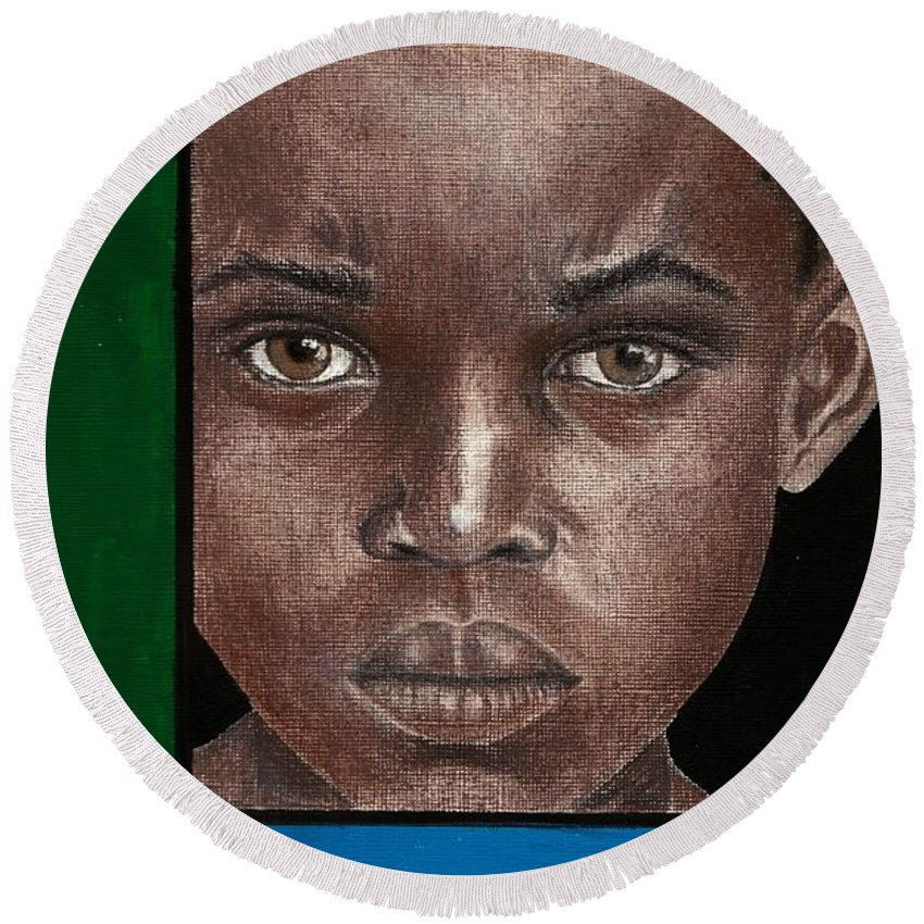 African American Artwork Round Beach Towel featuring the mixed media Intense by Edith Peterson-Watson