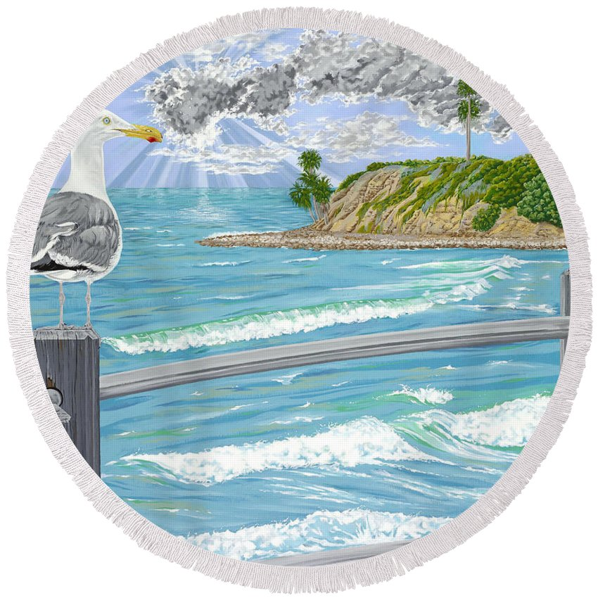 Sea Gull Round Beach Towel featuring the painting Intensity by John Wilson