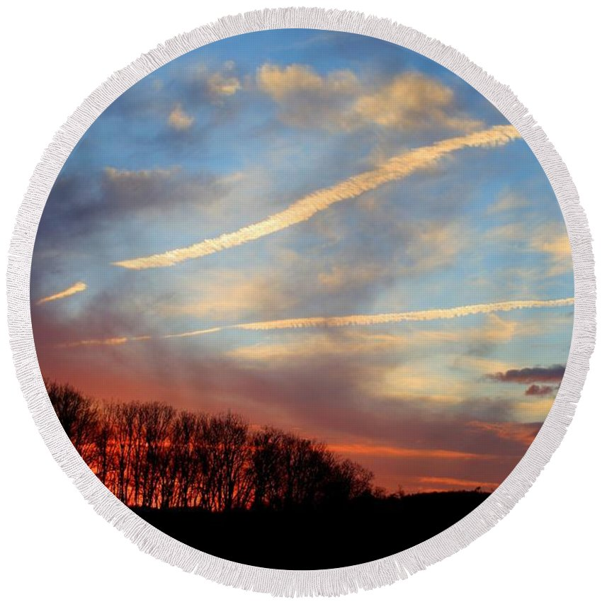 Sunset Round Beach Towel featuring the photograph Interesting Sunset by Kathryn Meyer