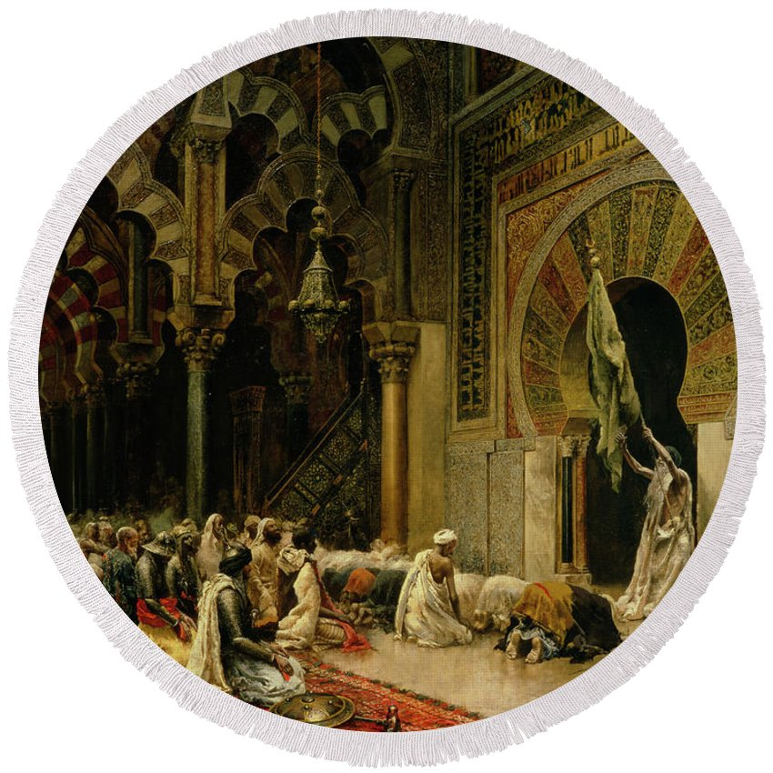 Interior Of The Mosque At Cordoba Round Beach Towel featuring the painting Interior Of The Mosque At Cordoba by Edwin Lord Weeks