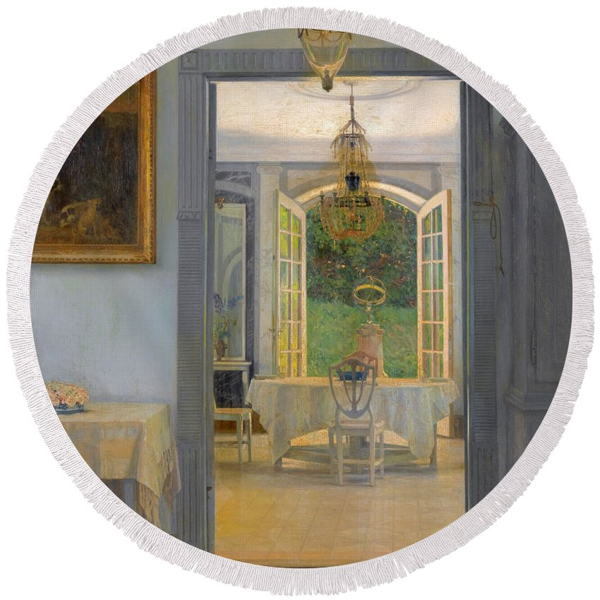 Georg Nicolai Achen Round Beach Towel featuring the painting Interior With Afternoon Sun by Georg Nicolai Achen