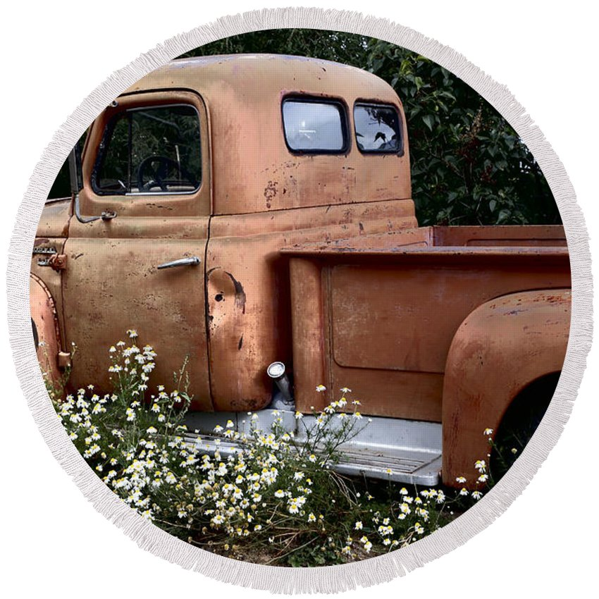 International Round Beach Towel featuring the photograph International L-110 In Flowers by Lynn Sprowl