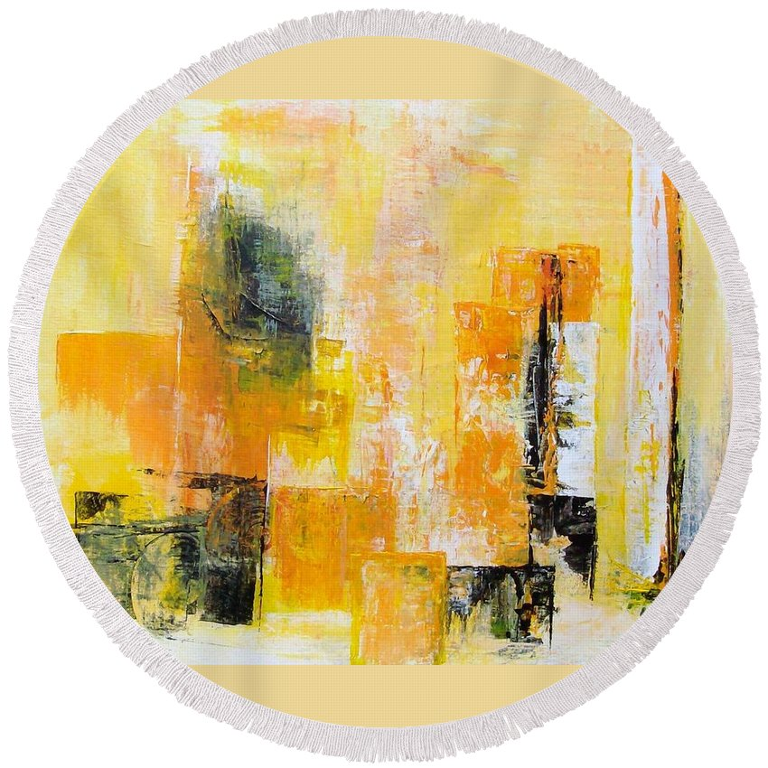 Abstract Round Beach Towel featuring the painting Interpretation by Linda Wimberly